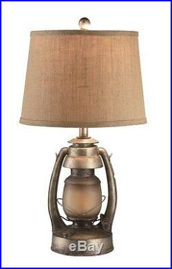 Vintage Oil Lantern Table Lamp With Night Light Burlap Shade Rustic Cabin Decor
