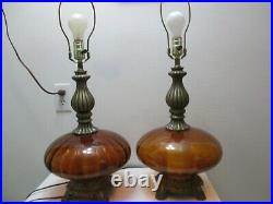 Vintage PAIR of Hollywood Regency Table Lamps Amber Optic Ribbed 26 Tall