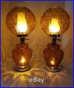 Vintage Pair Amber Glass Hurricane Globe Lamps Underwriters Laboratories 20