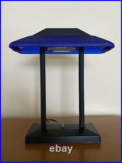 Vintage Pair Memphis Bankers Desk Lamp Cobalt Blue Glass Postmodern