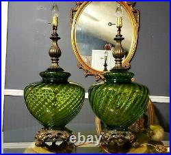 Vintage Pair of MCM Hollywood Regency 3-Way Switch Lamps with Green Glass. RARE