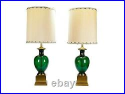 Vintage Pair of Marbro Emerald Green Italian Glass Table Lamps withOriginal Shades