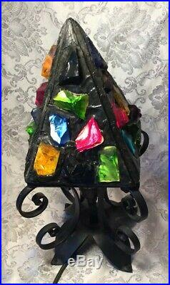 Vintage Peter Marsh Leaded Stained Glass Wrought Iron Table Lamp Chunky Multico