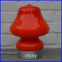 Vintage Retro Mcm Cased Glass Oranje Mushroom Table Lamp Danish Swedish Era