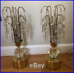 Vintage Set Of 2 Art Deco Waterfall Boudoir Lamps With Crystal Glass Prisms