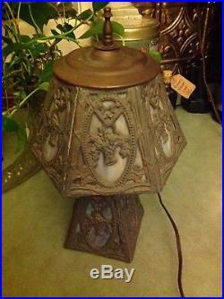 Vintage Small Slag Glass Table Lamp