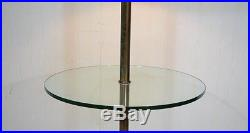 Vintage Solid Brass & Glass Queen Anne Traditional Occasional Floor Lamp Table