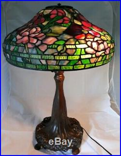 Vintage Somers Museum Replica Peony Leaded Glass Table Lamp