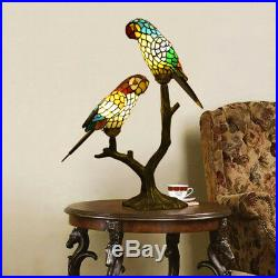 Vintage Tiffany Style Stained Glass Double Parrots Big Table Lamp Desk Light