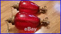 Vintage Very Large Red Waterfall Glass Swag Light 28in long 2 available