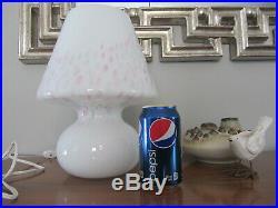 Vintage Vetri Murano Glass White confetti Mushroom Italy Table Lamp 12 70's 80s