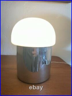 Vintage White Glass Mushroom Table Lamp 1970's Space Age Chrome