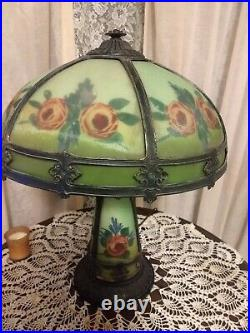 Vintage reverse painted table lamp