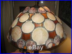 Vintage table lamp with shell and slag glass shade Beach House