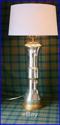 Visual Comfort Suzanne Kasler tall Silver Mercury Glass Gold leaf base Lamp $600
