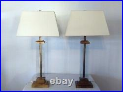 Visual Comfort Wright Table Lamp-Matching Pair-Gilded Iron & Glass