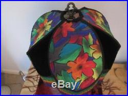 Vntg Dramatic Fabric Lampshade with Bold Psychedelic Rainbow Glass Beads Fringe
