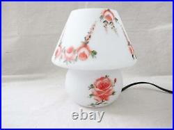 Vtg 80s Mushroom Lamp Murano Glass White Painted Pink Roses Tabletop Lamp