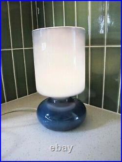 Vtg 90s Ikea Lykta Glass Mushroom Lamp Blue Minimalist Bedside Lamp