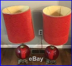Vtg EF EF Industries RED Glass Table Lamps 3-Way Set With Shades Pair Lamp Retro
