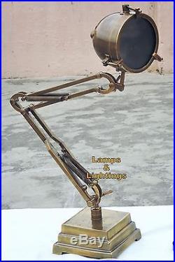Vtg Industrial Cast Iron Metal Deco Gooseneck Desk Lamp Light Steampunk Antique