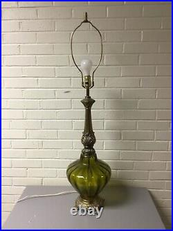 Vtg MID Century Green Glass Brass Tall Table Lamp Hollywood Regency Working 41