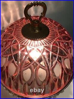 Vtg Michelotti Crystal Glass 30 Prism Boudoir Parlor Table Lamp Cranberry Large