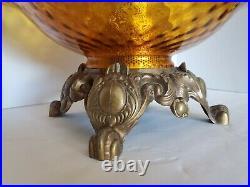 Vtg Mid Century Modern Hollywood Regency Optical Amber Glass & Brass Lamp 33