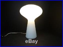Vtg Mid Century Modern Lisa Johansson Pape Iittala White Glass Mushroom Lamp 12