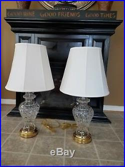 WATERFORD CRYSTAL KINGSLEY Pair of Table Lamps 29 1/2 Tall Lot of 2