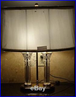 WATERFORD CRYSTAL PARKMORE 25 ELECTRIC TABLE DESK LAMP withoval Waterford Shade