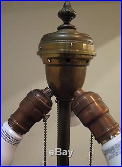 WILKINSON TRUMPET VINE LEADED GLASS TABLE LAMP CIRCA 1910s