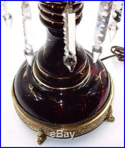 WORKS! VINTAGE RUBY RED GLASS With CRYSTAL PRISMS & BRASS BASE 16 ELECTRIC LAMP