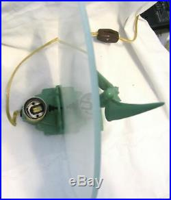 Waldorf Astoria art deco Nymph with wings lamp greenie all metal & glass USA