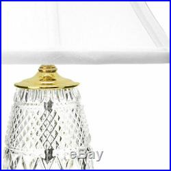 Waterford Crystal Chelsea 22.5 Diamond & Wedge Cut Table Lamp with Cotton Shade
