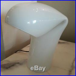 White Murano Glass Bissa Table Lamp By Gino Vistosi 1968 Mid Century Modern