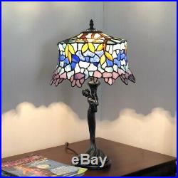 Wisteria Stained Glass Table Lamp Tiffany Style Shade 13W with Woman Base