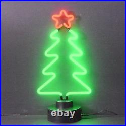 Xmas Tree Christmas real neon sign sculpture lamp table shelf hand blown glass
